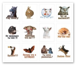 Набор стикеров комичные животные часть первая