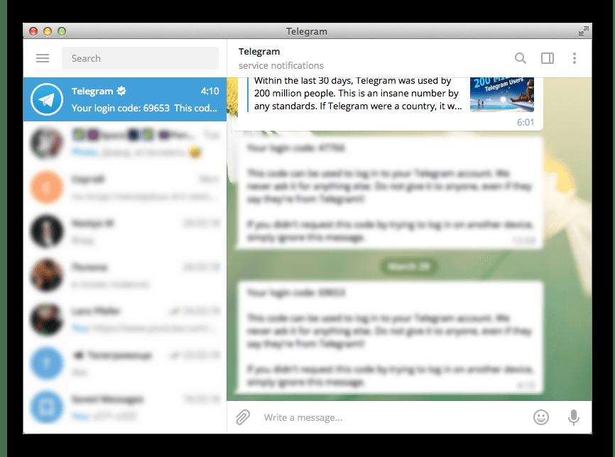 Внешний вид Telegram на Mac OS