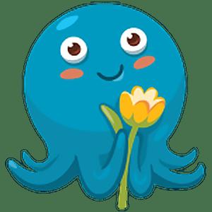 стикеры осьминог Шуня для Телеграм