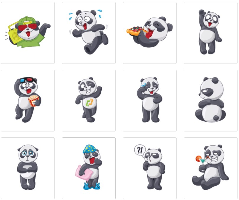 стикеры Панда для Телеграм