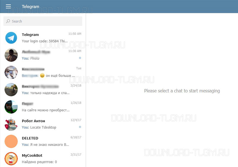 как выглядит web телеграм