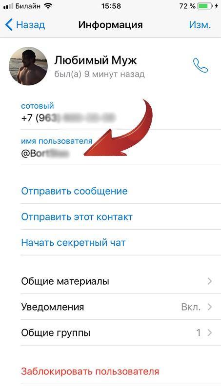копируем имя пользователя
