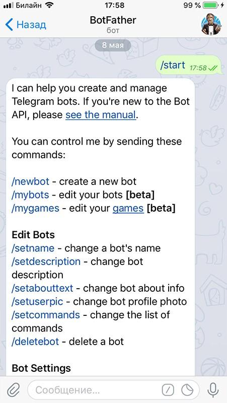 начинаем работу и выбираем newbot