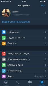Telegram x на русском языке в айфон